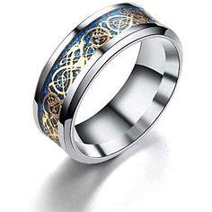 38e6848d32 Herren Ring - Drachenschuppe Drachen Muster Kanten keltisch Ringe Schmuck  Hochzeitsband fuer Maenner Golden 10 #