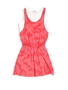 Splendid Girl's Layered Tie-Dye Dress - Dark Pink - Size