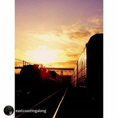 From @eastcoastingalong Sunset at the trains…