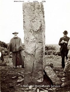 Breastagh Ogham Stone, Co. Mayo, Ireland, 1898 And where is it Now I ask? Castles In Ireland, Ireland Homes, Alexandre Le Grand, Images Of Ireland, Site Archéologique, Aliens, Emerald Isle, Ireland Travel, British Isles
