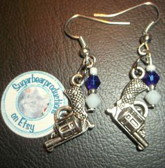 Silver #Earrings #Guns with white and blue crystal on silver  #revolvers #weapons
