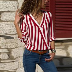 Buy Women Striped Blouse Shirt Long Sleeve Blouse V-neck Shirts Casual Tops Blouse et Chemisier Femme Blusas Mujer de Moda 2019 - Red - and Find more Women's Blouses & Shirts enjoy up to off. Striped Long Sleeve Shirt, Long Sleeve Tops, Long Sleeve Shirts, Striped Shirts, Casual Tops, Casual Shirts, Trendy Tops, Robes Tutu, Blouses For Women