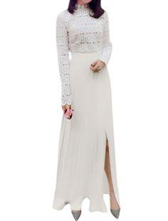 Allegra K Women's Stand Collar Split Side Crochet Pleated Maxi Dress White (Size S / 4)