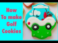 How to make golf cookies. My little bakery. Golf Cookies, Coffee Cookies, Iced Cookies, Cut Out Cookies, Royal Icing Cookies, Cake Cookies, Sugar Cookies, Golf Cake Pops, Biscuits