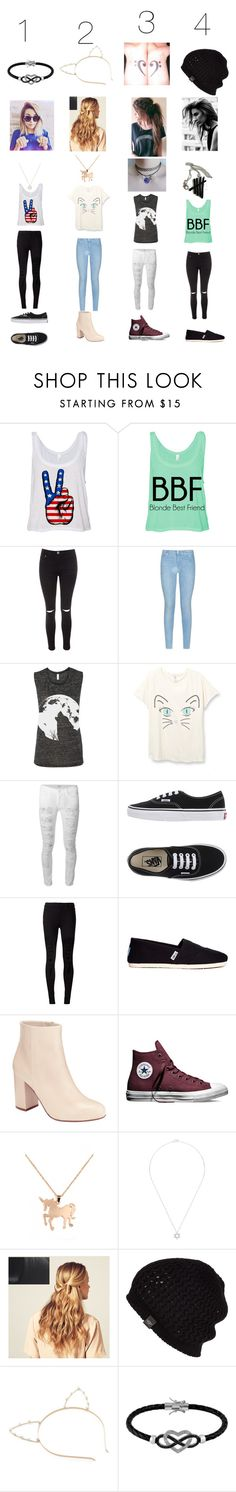"""4 different outfits"" by peace-girl23 ❤ liked on Polyvore featuring Glamorous, 7 For All Mankind, Hudson, Vans, J Brand, TOMS, Kin by John Lewis, Converse, Louche and Nephora"