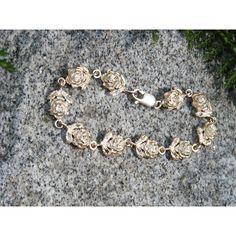 Etched Roses Vintage Sterling Silver Link by GoldiesNaturalGems ($45) via Polyvore