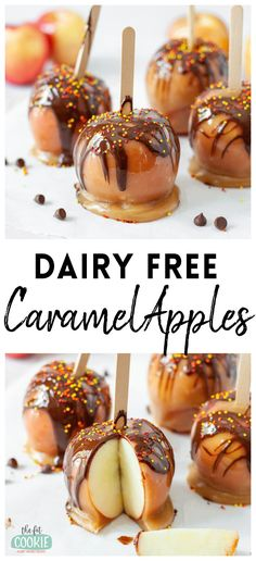 Enjoy fall apple harvest with these delicious and easy to make Dairy Free Caramel Apples! Our dairy free caramel apples are easy to make and decorate, and they are perfect for Halloween treats. | thefitcookie.com #dairyfree #glutenfree #caramelapples #fall #apples Chocolate Nutrition, Apple Harvest, Canned Coconut Milk, Winter Recipes, Winter Food, Dairy Free Recipes, Food Allergies, Corn Syrup, Halloween Treats