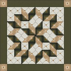 LOG CABIN QUILT.............PC.. Log Cabin Block built Carpenter Star by QuiltPatterns on Etsy, $7.90