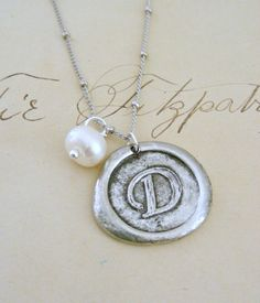 Silver Necklace Initial Letter D  Pewter by chloesvintagejewelry, $38.00
