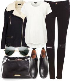 Street chic: Black shearling jacket, white tee, distressed black skinnies, sleek booties, satchel and aviators.