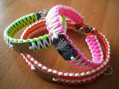 Paracord dog collars with Dog Tags