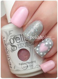 Pink and gray nails. Glitter, hearts. Nail Art. Nail Design. Polishes. Polish, Romantic. Valentine's Day.