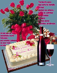 happy birthday flowers and wine - Hľadať Googlom Happy Birthday Ballons, Happy Birthday Cake Images, Birthday Wishes Cake, Happy Birthday Wishes Cards, Happy Birthday Celebration, Happy Birthday Flower, Happy Belated Birthday, Birthday Gifs, Bolo Naruto