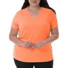 Danskin Now Women's Plus-Size Active Essential Short Sleeve Tee, Size: 3XL, Orange