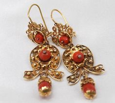 Antique Mexican Coral Earrings | Colonial Arts