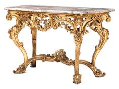Höhe: ca. 89 cm. Breite: ca. 139 cm. Tiefe: ca. 66 cm. Holz, geschnitzt, gefasst und vergoldet. Das prächtige Möbel auf kräftigen volutenbesetzten und mit...