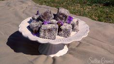 Cake stand with yummy Lamingtons Shake It Off, Acai Bowl, Ceramics, Tea, My Favorite Things, Cake, Garden, Food, Acai Berry Bowl