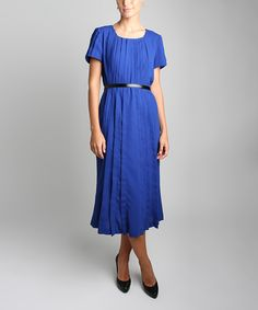 Look what I found on #zulily! Iris Blue Sun Pleated Midi Dress - Women & Plus by JSong #zulilyfinds