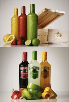 "This packaging is designed by JWT, a big advertising firm. It is a package with different flash colors hiding a famous alcohol, Smirnoff. Each colors is associated to a fruit and remind with which aroma is mixed. The bottles will be easy to identify in the middle of other one more "" classic "", but I think this type of packaging can make forget to the customer the nature of the product, alcohol, and without brand name on the package, , the customer could not understand."