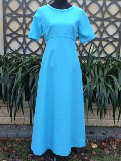 VINTAGE 1960'S Blue Formal Gown Bridesmaid by FashionReviva