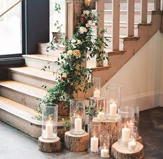 The idea of candles on landing or bottom of stairway