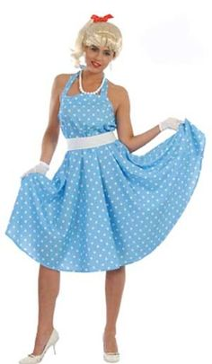Disfraz de Años 50 Topos Azul mujer