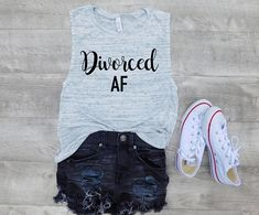 Divorced AF tank, divorce party shirt custom tank, Graphic tank, women tank, cute tank, tank quote, fashion, gift for her , gift ideas, Super soft boxy tank. These are made to order. We will then personalize them and ship them out as soon as possible. You can expect your shirt to Custom Tanks, Custom Shirts, Divorce Party, Tank Tank, Leather Apron, Photo Checks, Simple Bags, Party Shirts, Fashion Quotes