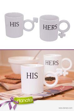 Durch die symbolischen Henkel sind die Tassen ein echter Hingucker #danato #küchenhelfer #küche #frühstück #his #hers #tassen