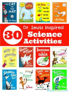 Science activities inspired by Dr. Seuss books - 30 ideas for 12 books. You'll find activities that practice measuring, graphing, and observation skills, explore baking soda and vinegar, and lots more!