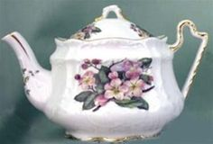 Fielder Keepsakes Peach Blossom Porcelain Victorian 3 Cup Teapot - Made In the USA