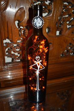 Nightmare Before Christmas Wine Bottle Lamp Standing Jack Skellington (Orange Lights) Halloween Lights, Halloween Party, Night Light Christmas Wine Bottles, Lighted Wine Bottles, Bottle Lights, Bottle Lamps, Diy Crafts Paper Flowers, Jack Skellington Faces, Confetti Balloons, Party Lights, Light Orange