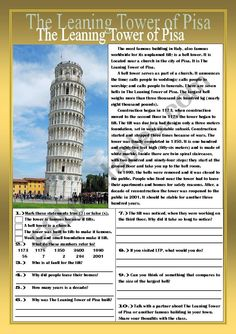 The Leaning Tower of Pisa Reading Comprehension Practice Exercises - ESL worksheet by teacherblake Comprehension Exercises, Reading Comprehension Worksheets, China For Kids, Picture Comprehension, Pisa Tower, Summer Courses, Social Studies Worksheets, Famous Buildings, English Reading