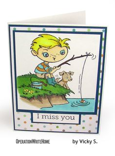 Cute kids missing you card