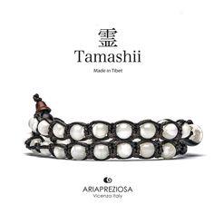 Tamashii - Bracciale Lungo Tradizionale Tibetano 2 giri Madreperla