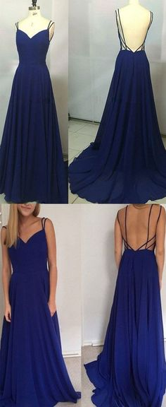 Simple A-Line Spaghetti Straps Backless Royal Blue Long Prom Dress