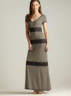 Max Studio Lace Accent Maxi Dress