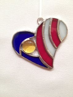 Stained Glass Ornament  Patriotic Heart with Gem by MamaAgees, $8.00
