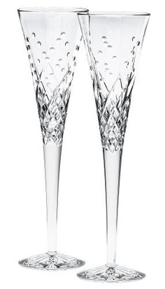 waterford happy crystal flute glasses set of 2 - Waterford Crystal Wine Glasses