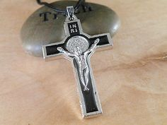 JESUS CHRIST on the HOLY  CROSS BLACK PENDANT NECKLACE BLACK ADJUSTABLE CORD (01