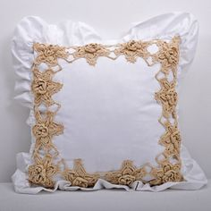 hand made decorative crochet pillow white and by lacydreamycreamy