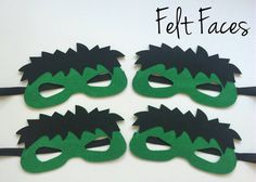 SET OF 4 Incredible Hulk Party Masks, Hulk Party Favors, Hulk Costume, Hulk Birthday, Superhero Party, Incredible Hulk Party Decorations