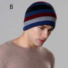 3eead3a773a Winter striped beanie hat for men ski mountaineering warm knit hats Knit Hat  For Men