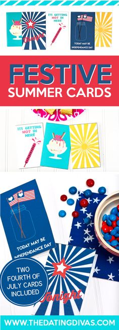 These are the CUTEST summer cards! FREE Printables designed by www. Free Printable Cards, Free Printables, Free Cards, 4th Of July Celebration, Fourth Of July, Happy Summer, Summer Fun, Birthday Coupons, Romance Tips