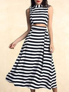 Two Piece Dresses | White and black Stylish Zippered Crop Top and High Waist Striped Skirt Two Pieces For Women - Gamiss