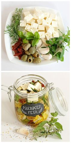 This marinated feta cheese recipe is wonderful to keep in the kitchen, to add to dishes or simply eat straight from the jar. Just think what a great hostess gift this would make, tasty and gorgeous to (Feta Cheese Making) Feta Cheese Recipes, Appetizer Recipes, Cashew Cheese, Cheese Sauce, Cheese Appetizers, Goat Cheese, Cuisine Diverse, Tasty, Yummy Food