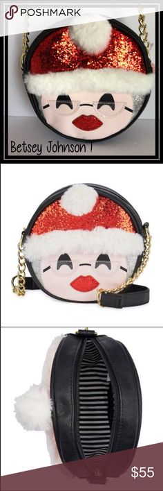 🎁SALE 🎁Betsey Johnson crossbody Mrs Claus bag . See photo For details ! These bags sold out immediately and I've managed to get a few more ! They are great !!! Betsey Johnson Bags Crossbody Bags