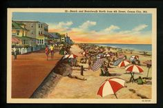 Maryland MD Vintage Postcard Linen Ocean City Beach Boardwalk View Curt Teich | eBay