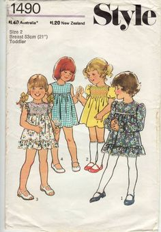 Style 1490 Vintage Sewing Pattern Toddler Size 2 Dress Smocking Used/Complete