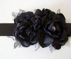 Solid Black Flower Sash -  Bridal, Wedding, Special Occassion
