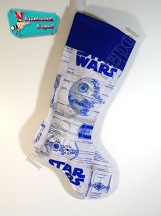 Star Wars Death Star Blue Print Fully Lined Handmade Christmas Stocking